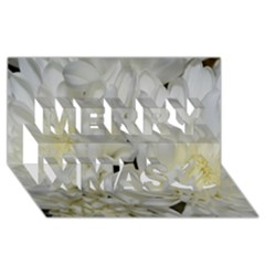 White Flowers 2 Merry Xmas 3D Greeting Card (8x4)
