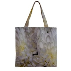 White Flowers 2 Zipper Grocery Tote Bags