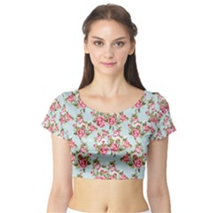 Raining Roses Short Sleeve Crop Top (tight Fit)