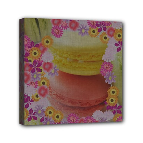 Macaroons and Floral Delights Mini Canvas 6  x 6