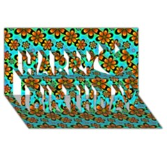 Neon Retro Flowers Aqua Happy Birthday 3D Greeting Card (8x4)