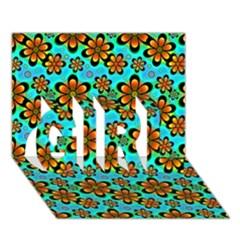 Neon Retro Flowers Aqua GIRL 3D Greeting Card (7x5)