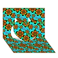 Neon Retro Flowers Aqua Heart 3d Greeting Card (7x5)