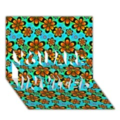 Neon Retro Flowers Aqua You Are Invited 3d Greeting Card (7x5)