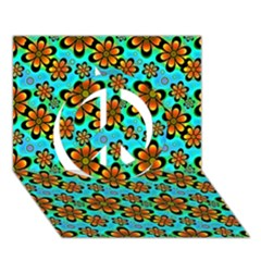 Neon Retro Flowers Aqua Peace Sign 3D Greeting Card (7x5)