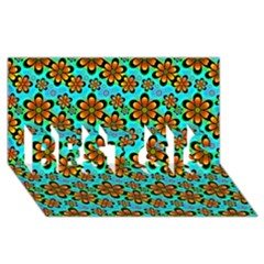 Neon Retro Flowers Aqua Best Sis 3d Greeting Card (8x4)