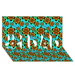 Neon Retro Flowers Aqua #1 DAD 3D Greeting Card (8x4)