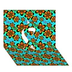 Neon Retro Flowers Aqua Ribbon 3d Greeting Card (7x5)