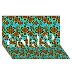 Neon Retro Flowers Aqua Sorry 3d Greeting Card (8x4)