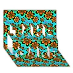Neon Retro Flowers Aqua Take Care 3d Greeting Card (7x5)