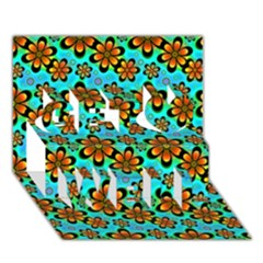 Neon Retro Flowers Aqua Get Well 3d Greeting Card (7x5)