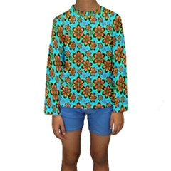 Neon Retro Flowers Aqua Kid s Long Sleeve Swimwear