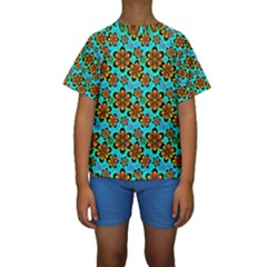 Neon Retro Flowers Aqua Kid s Short Sleeve Swimwear