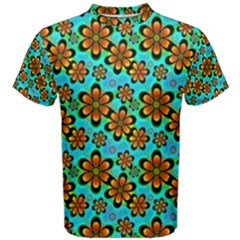 Neon Retro Flowers Aqua Men s Cotton Tees
