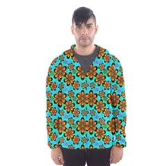 Neon Retro Flowers Aqua Hooded Wind Breaker (Men)