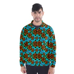 Neon Retro Flowers Aqua Wind Breaker (Men)