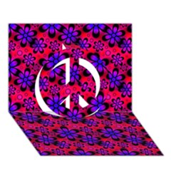 Neon Retro Flowers Pink Peace Sign 3D Greeting Card (7x5)