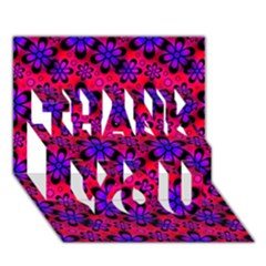 Neon Retro Flowers Pink THANK YOU 3D Greeting Card (7x5)