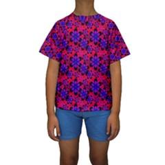 Neon Retro Flowers Pink Kid s Short Sleeve Swimwear