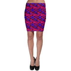 Neon Retro Flowers Pink Bodycon Skirts