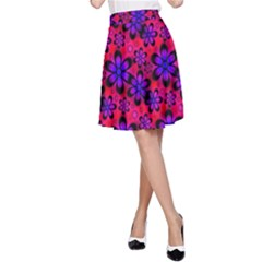 Neon Retro Flowers Pink A-Line Skirt