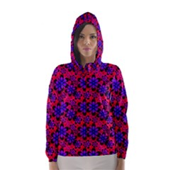 Neon Retro Flowers Pink Hooded Wind Breaker (women)