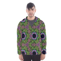 Repeated Geometric Circle Kaleidoscope Hooded Wind Breaker (Men)