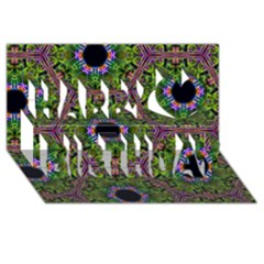 Repeated Geometric Circle Kaleidoscope Happy Birthday 3d Greeting Card (8x4)