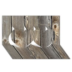 Wood Fence Twin Hearts 3d Greeting Card (8x4)