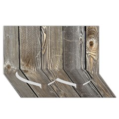 Wood Fence Twin Heart Bottom 3d Greeting Card (8x4)