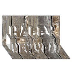 WOOD FENCE Happy New Year 3D Greeting Card (8x4)