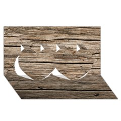 Weathered Wood Twin Hearts 3d Greeting Card (8x4)