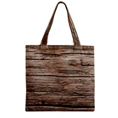 Weathered Wood Zipper Grocery Tote Bags
