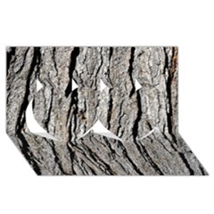 TREE BARK Twin Hearts 3D Greeting Card (8x4)