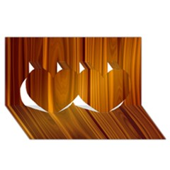 SHINY STRIATED PANEL Twin Hearts 3D Greeting Card (8x4)