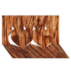 OLD BROWN WEATHERED WOOD Twin Hearts 3D Greeting Card (8x4)