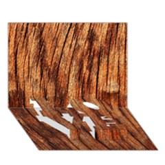 OLD BROWN WEATHERED WOOD LOVE Bottom 3D Greeting Card (7x5)