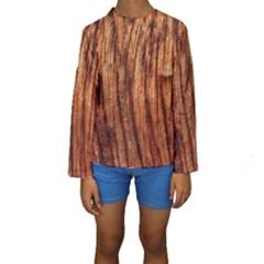 Old Brown Weathered Wood Kid s Long Sleeve Swimwear
