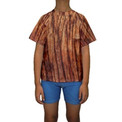 OLD BROWN WEATHERED WOOD Kid s Short Sleeve Swimwear