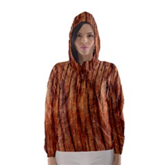 OLD BROWN WEATHERED WOOD Hooded Wind Breaker (Women)