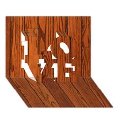 Oak Planks Love 3d Greeting Card (7x5)