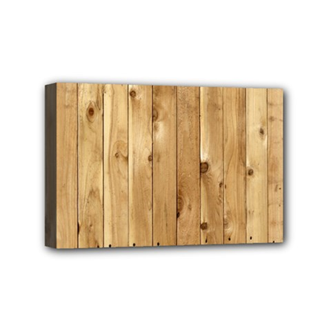 Light Wood Fence Mini Canvas 6  X 4