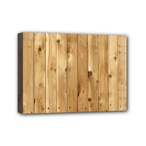 Light Wood Fence Mini Canvas 7  X 5