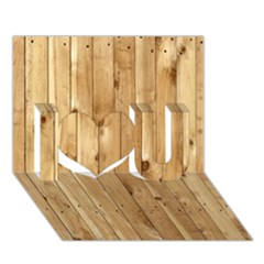 Light Wood Fence I Love You 3d Greeting Card (7x5)