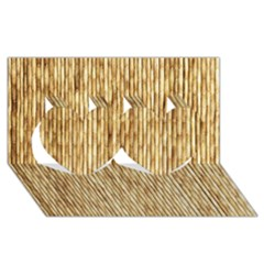 LIGHT BEIGE BAMBOO Twin Hearts 3D Greeting Card (8x4)