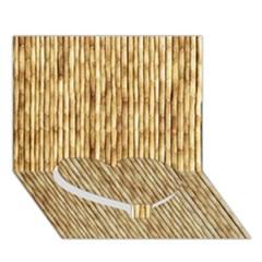 Light Beige Bamboo Heart Bottom 3d Greeting Card (7x5)