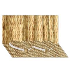 Light Beige Bamboo Twin Heart Bottom 3d Greeting Card (8x4)