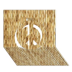 LIGHT BEIGE BAMBOO Peace Sign 3D Greeting Card (7x5)
