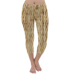 Light Beige Bamboo Capri Winter Leggings