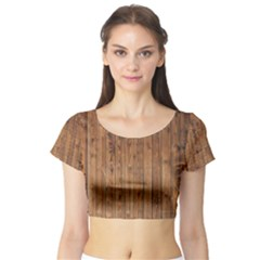 Knotty Wood Short Sleeve Crop Top